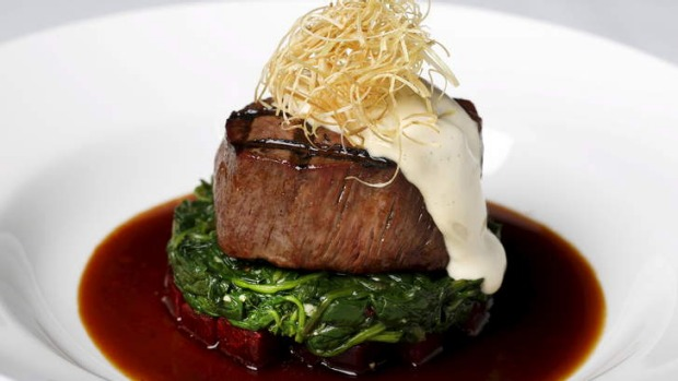 Cooking with wine: Char-grilled beef tenderloin with a red wine sauce.