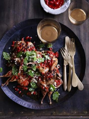 Grilled quail with harissa.
