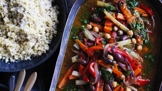 You can add dates, dried apricots or almonds for added sweetness and texture in this vegetable tagine.