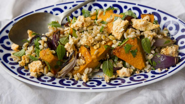 This pumpkin and farro salad makes a great side for slow-cooked meats.