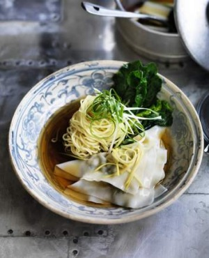 Prawn wonton and noodle soup.