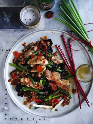 Chicken stir-fried in XO sauce.