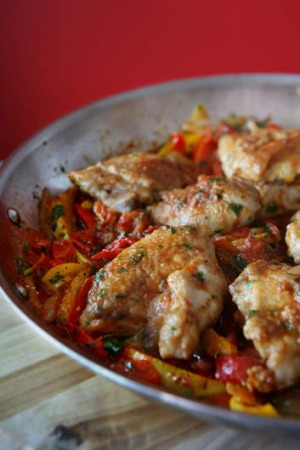 Roman-style chicken with capsicum.