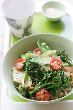 Chinese greens with chilli, garlic and soy rice.