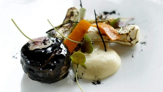Balance: Pork cheek celeriac persimmon chestnuts with Autumn ashes.