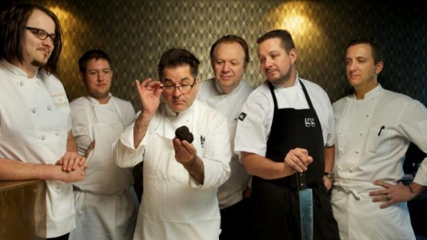 Guy Grossi (third from left) and Philippe Mouchel (third from right) will have a truffle cook-off.