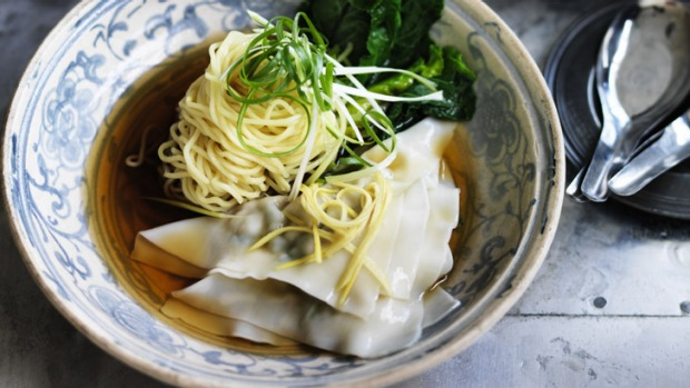 Vibrant prawn and wonton noodle soup: substitute the prawn for chicken if you prefer.