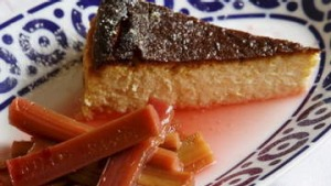 Goat's milk cheesecake with poached rhubarb.