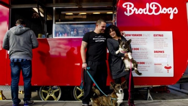 Joelle and Sascha Brodbeck with the much loved  BrodDogs van.