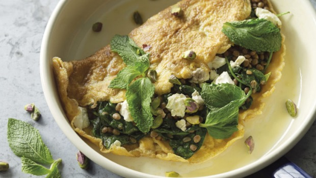 Lentil, feta, mint and pistachio omlette.