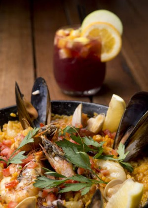 Paella and a glass of sangria at The Sangria Bar at Ole.