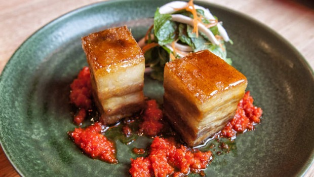 The sticky pork belly dish at Lucy Liu Kitchen & Bar.
