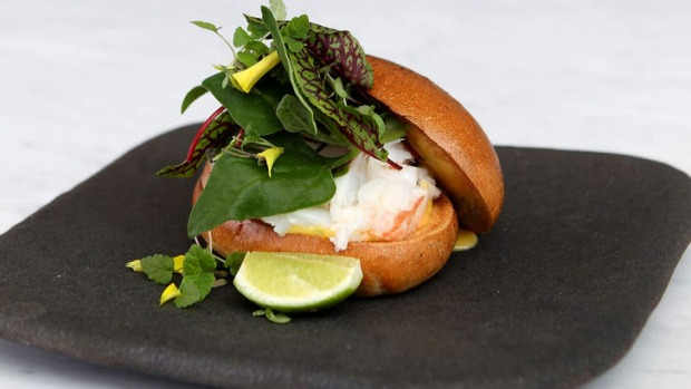 Fancy sandwich: Crayfish and coastal spinach roll.