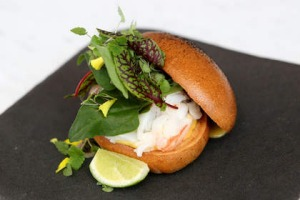 Kettle Black's Kingfish Island crayfish roll.