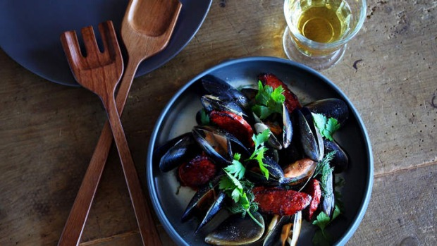 Terrific live: Beer-steamed mussels with chorizo.
