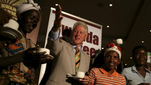 Former US President Bill Clinton meeting local coffee growers in Kigali, Rwanda, in 2008.