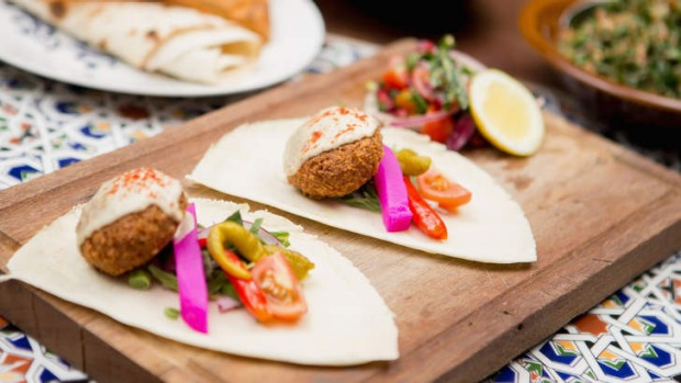 Felafel with pickled turnips, chillies, mint, tahini and saj bread.