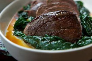 Roasted eye fillet on wilted cavolo nero at Du Fermier.