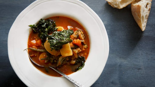 Soup for all seasons: Roasted root vegetable minestrone with pancetta.