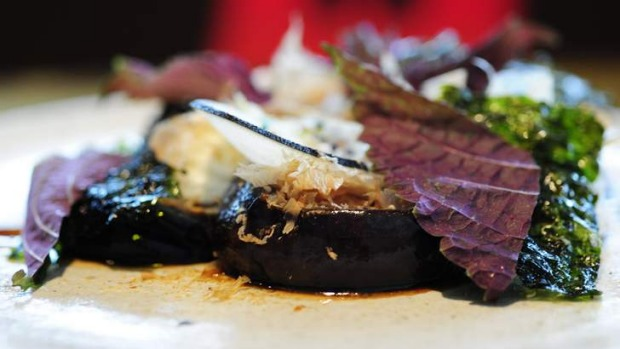 Recommended: Eggplant, smoked goat's curd, katsuobushi and sesame.