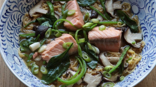 Salmon miso noodle soup makes a quick and healthy lunch or dinner.