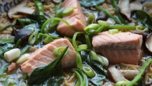 Salmon and miso noodle soup.