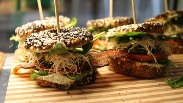 Bestseller: Bagels with eggplant 'jerky' at Orawgi cafe.