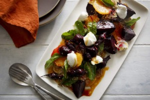 Roasted beetroot, sweet potato, orange and quinoa salad with goat's curd.
