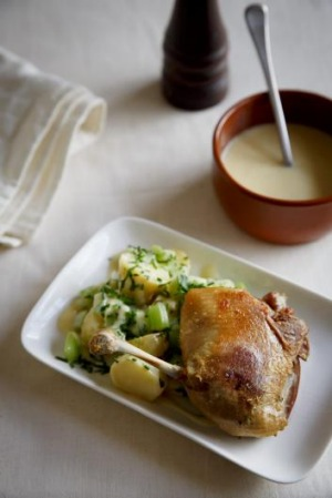Perfect pairing: Potato, cucumber and celery salad with confit duck leg.