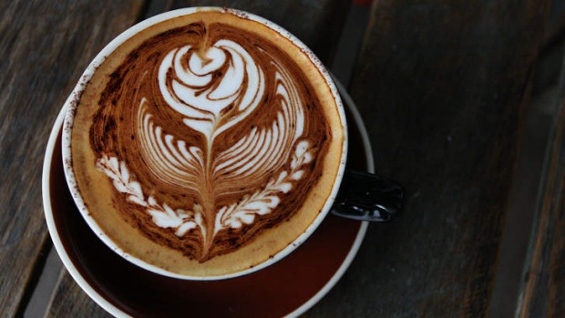 The coffee displays an impressively complex rosetta.