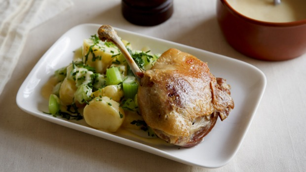 Mustard dressing works beautifully with potato salad, and with proteins such as confit duck (pictured).