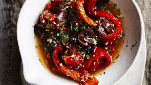 Spice up your sides: Grilled pepper, olive and spice salad.