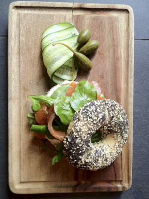 The salmon lox bagel at Brooklyn Hide.