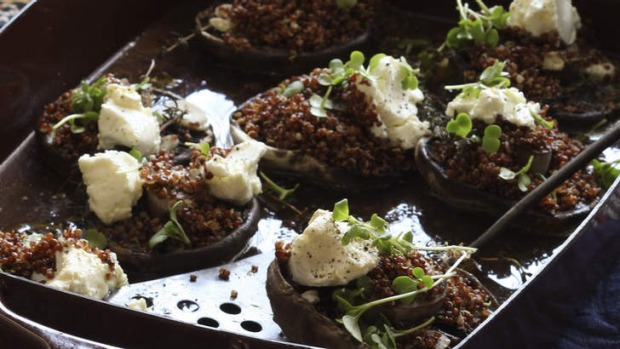 Ancient grains: Baked portabello mushrooms topped with quinoa and feta.