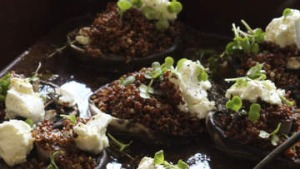 Baked portabello mushrooms topped with quinoa and feta.