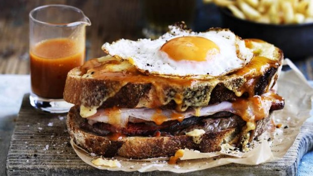 Adam Liaw's 'Little Frenchie' Francesinha toasted sandwich.