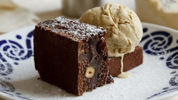 A very grown-up dessert: Jaffa brownie served with Carajillo (coffee and brandy) ice-cream.