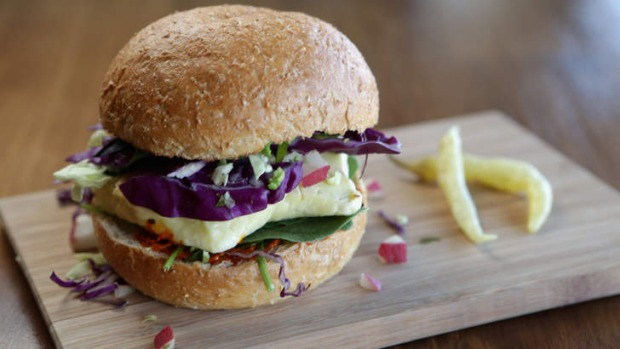 The haloumi burger is lifted by avjar relish.