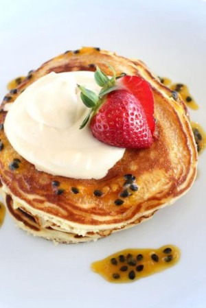 The banana and buttermilk pancakes.