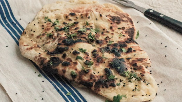 Sneh Roy's naan bread: It should have a lovely char and be shaped like a teardrop.