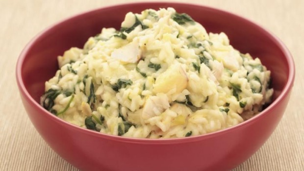Fish of the day: A bowl of haddock, leek and spinach risotto.