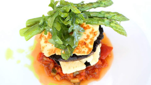 The mushroom and haloumi stack.