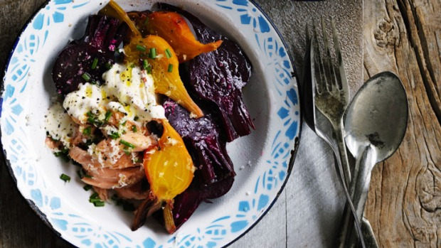 Full-on flavour: Beetroot salad wtih smoked trout and horseradish.