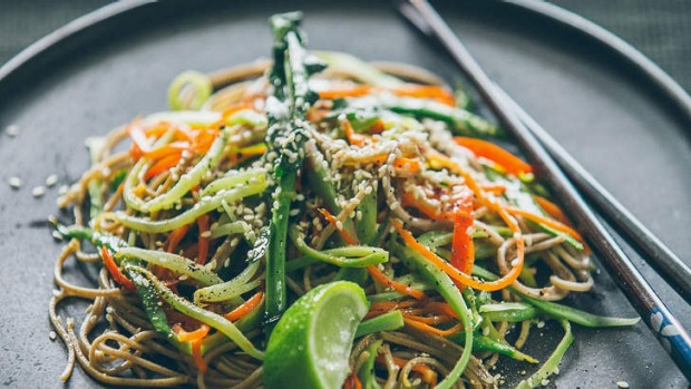 Deliciously tender: Broccoli stem noodles.