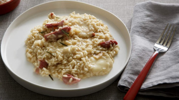 Karen Martini's smoked ham hock, rosemary and taleggio risotto.  <b>Photo:</b> Marcel Aucar. <b>Styling:</b> Marnie Rowe.