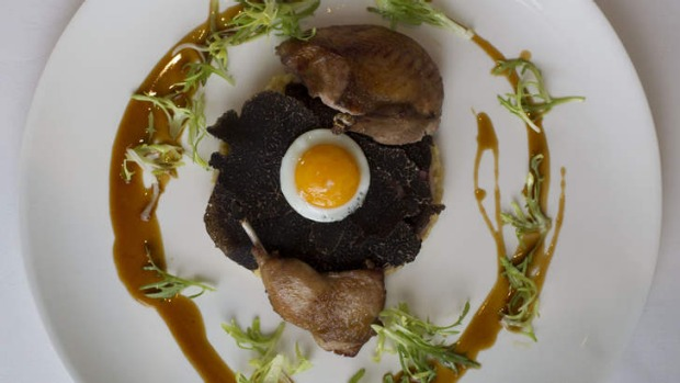 Roasted Jurassic quail, an excuse for the chef to go mad with Manjimup truffles.