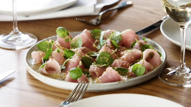 To start: Raw bonito, lemon, sesame and watercress.