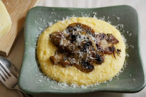 Soft polenta with mushrooms.