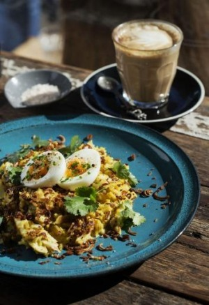 Kedgeree with smoked fish, crispy shallots and soft boiled egg.
