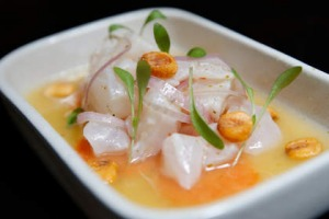 Ceviche Peruano is marinated in 'tiger's milk' and scattered with charred corn.